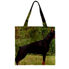 Doberman Pinscher Black Full Zipper Grocery Tote Bag