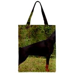 Doberman Pinscher Black Full Zipper Classic Tote Bag
