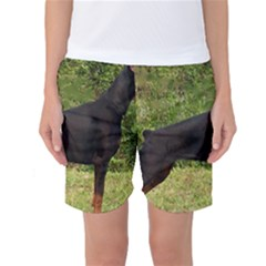Doberman Pinscher Black Full Women s Basketball Shorts
