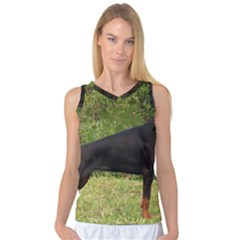 Doberman Pinscher Black Full Women s Basketball Tank Top