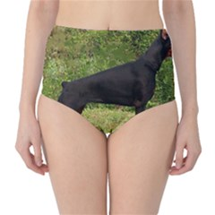 Doberman Pinscher Black Full High-Waist Bikini Bottoms