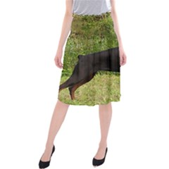 Doberman Pinscher Black Full Midi Beach Skirt