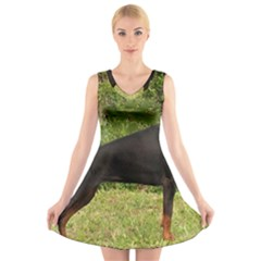 Doberman Pinscher Black Full V-Neck Sleeveless Skater Dress