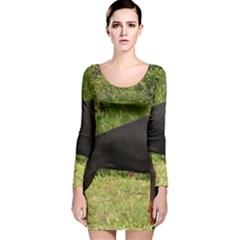 Doberman Pinscher Black Full Long Sleeve Velvet Bodycon Dress