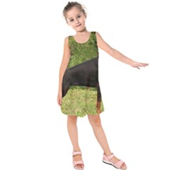 Doberman Pinscher Black Full Kids  Sleeveless Dress