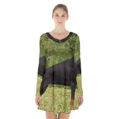 Doberman Pinscher Black Full Long Sleeve Velvet V-neck Dress