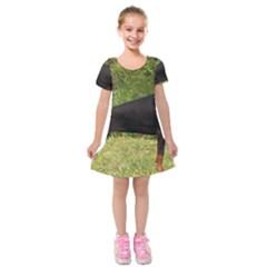 Doberman Pinscher Black Full Kids  Short Sleeve Velvet Dress