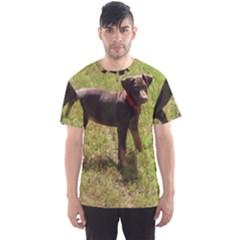 Red Doberman Puppy Men s Sport Mesh Tee