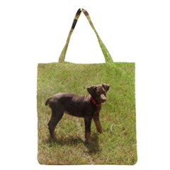 Red Doberman Puppy Grocery Tote Bag
