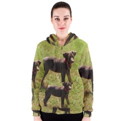Red Doberman Puppy Women s Zipper Hoodie