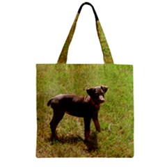 Red Doberman Puppy Zipper Grocery Tote Bag