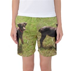Red Doberman Puppy Women s Basketball Shorts