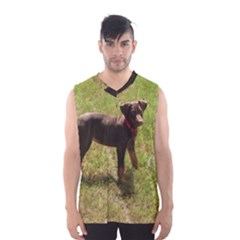 Red Doberman Puppy Men s Basketball Tank Top