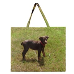 Red Doberman Puppy Zipper Large Tote Bag