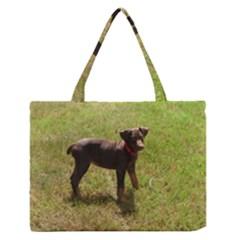 Red Doberman Puppy Medium Zipper Tote Bag