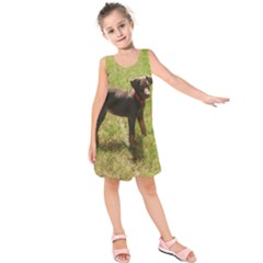 Red Doberman Puppy Kids  Sleeveless Dress