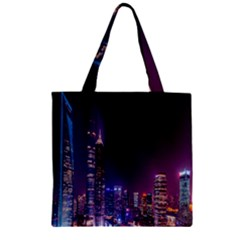 Raised Building Frame Zipper Grocery Tote Bag