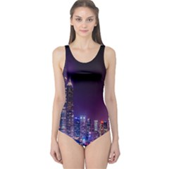 Raised Building Frame One Piece Swimsuit