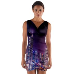 Raised Building Frame Wrap Front Bodycon Dress