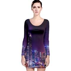 Raised Building Frame Long Sleeve Velvet Bodycon Dress