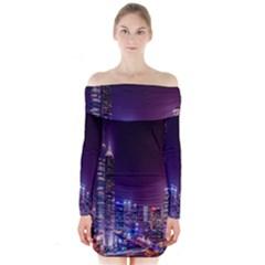 Raised Building Frame Long Sleeve Off Shoulder Dress