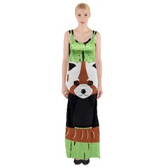 Red Panda Bamboo Firefox Animal Maxi Thigh Split Dress
