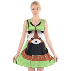 Red Panda Bamboo Firefox Animal V Neck Sleeveless Skater Dress