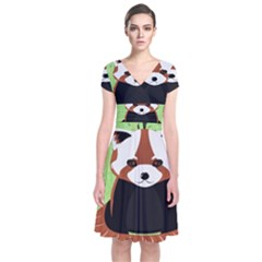 Red Panda Bamboo Firefox Animal Short Sleeve Front Wrap Dress