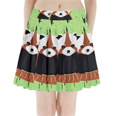 Red Panda Bamboo Firefox Animal Pleated Mini Skirt