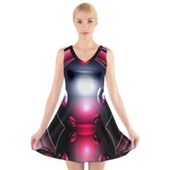Red 3d  Computer Work V Neck Sleeveless Skater Dress