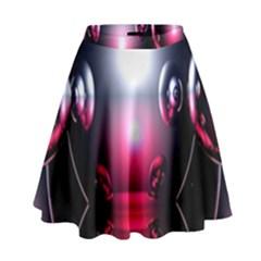 Red 3d  Computer Work High Waist Skirt