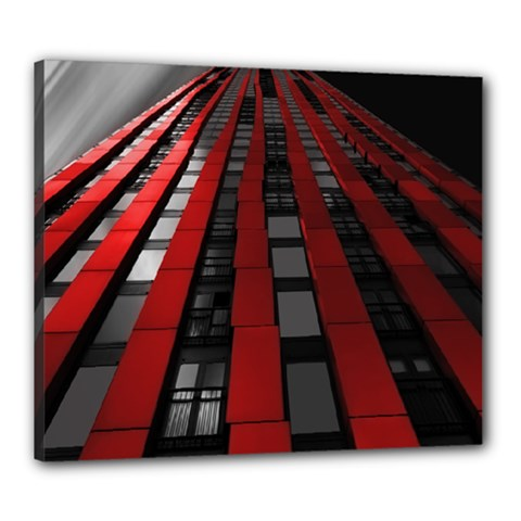 Red Building City Canvas 24  x 20