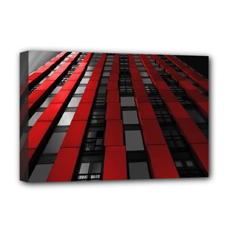 Red Building City Deluxe Canvas 18  x 12