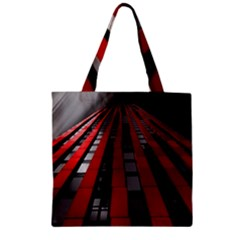 Red Building City Zipper Grocery Tote Bag