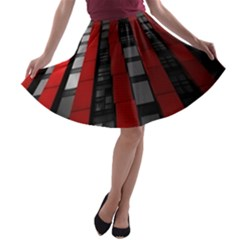 Red Building City A-line Skater Skirt