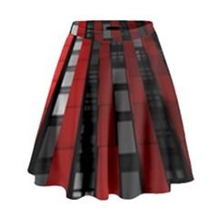 Red Building City High Waist Skirt