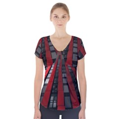 Red Building City Short Sleeve Front Detail Top