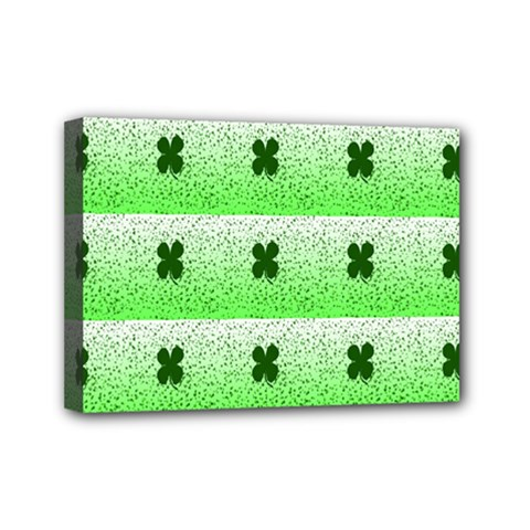 Shamrock Pattern Background Mini Canvas 7  x 5
