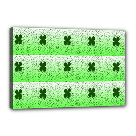 Shamrock Pattern Background Canvas 18  x 12