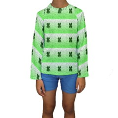 Shamrock Pattern Background Kids  Long Sleeve Swimwear