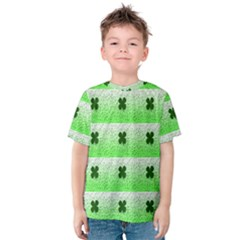 Shamrock Pattern Background Kids  Cotton Tee