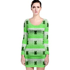 Shamrock Pattern Background Long Sleeve Bodycon Dress