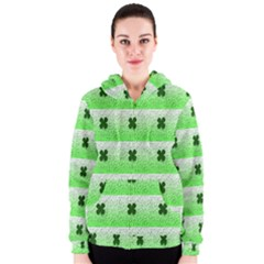 Shamrock Pattern Background Women s Zipper Hoodie