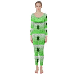 Shamrock Pattern Background Long Sleeve Catsuit