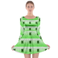 Shamrock Pattern Background Long Sleeve Skater Dress