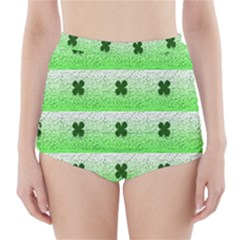 Shamrock Pattern Background High-Waisted Bikini Bottoms