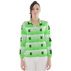 Shamrock Pattern Background Wind Breaker (Women)