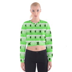 Shamrock Pattern Background Women s Cropped Sweatshirt