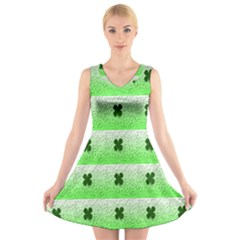 Shamrock Pattern Background V-Neck Sleeveless Skater Dress