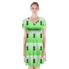 Shamrock Pattern Background Short Sleeve V-neck Flare Dress